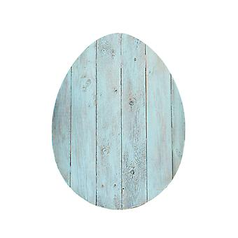 """18"""" Rustic Farmhouse Turquoise Wooden Large Egg"""