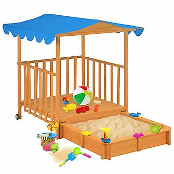 vidaXL children's playhouse with sandbox fir wood Blue UV50