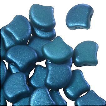 Tšekki lasi, 2-reikäinen Ginko Beads 7,5mm, 10 grammaa, hohtava sininen