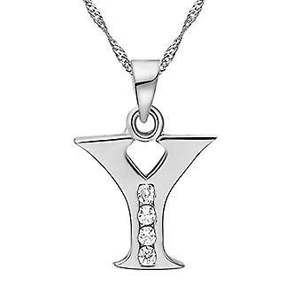 Necklace with pendant in the shape of a letter of the alphabet, for men and women. and base metal, color: Letter Y silver, cod. Ref. 4058433105317