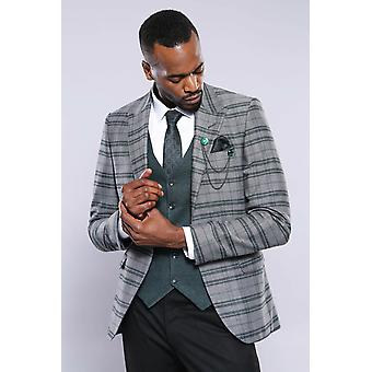 Checked green vested suit | wessi