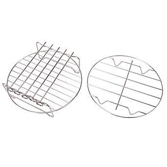 2PCS Air Fryer Doppelrack Küchenwerkzeuge für 4.2-6.8QT 8 Zoll Silber
