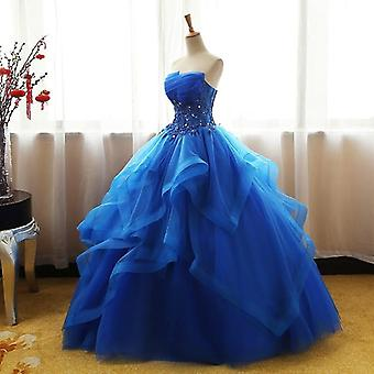 Vestido de renda luxuoso da moda, vestido de debutante para princesa