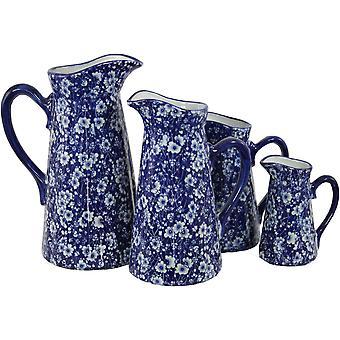 Uppsättning av 4 keramiska kannor, vintageblå & vita tusenskönor design