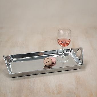 Silver Rectangular Sculpted Serving Tray with Handles