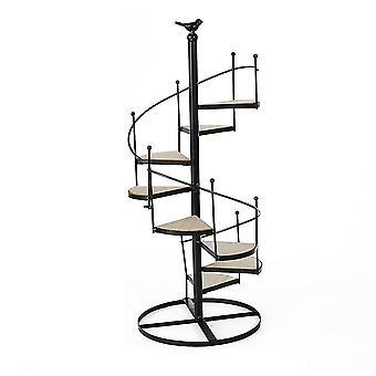 Black  stair-shaped multi-layer floor flower pot stand multifunctional shelf homi4403