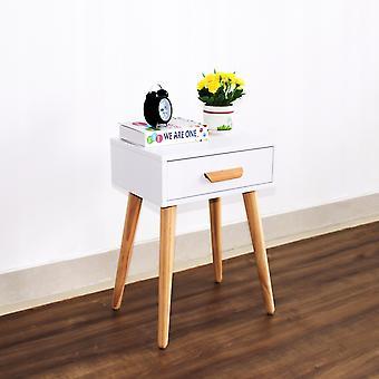 Mesa lateral mesa de cabeceira com gaveta - 46 x 36 x 58 cm - Branco + madeira