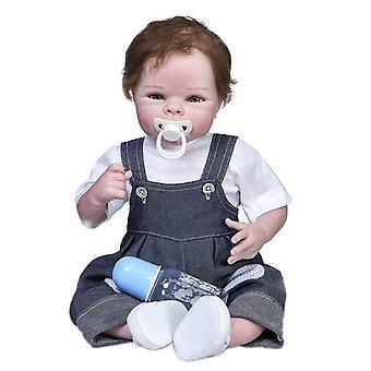 55Cm de haute qualité objets de collection cheveux bruns câlin corps doux bébé garçon bebe poupée renaissante vrai toucher main enracinée cheveux