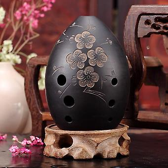 8 Löcher Ocarina Black Clay Xun Musikinstrument für Kinder Anfänger Geschenk (Pfirsichblüte)