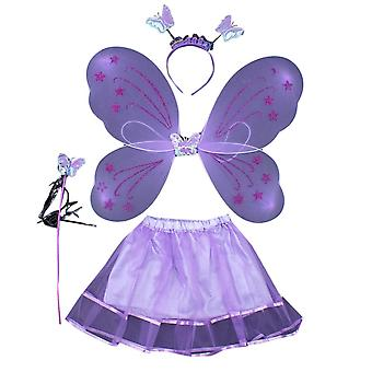 Homemiyn 4-piece Butterfly Wing Dress Butterfly Fairy Dress, Halloween Christmas Party Cosplay Show Gifts For Kids