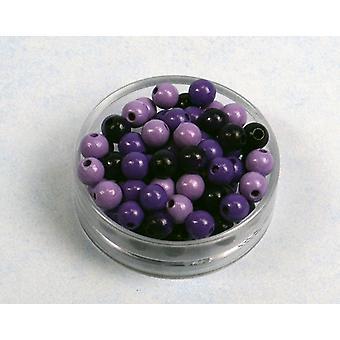 8mm lilla Mix træ Threading perler voksne håndværk - 118pk