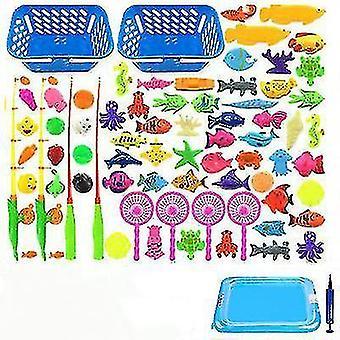 Детская магнитная рыбалка Родитель-ребенок интерактивные игрушки Игры Дети 2 Удилища 10 3D Рыбы 1 Бассейн Вода
