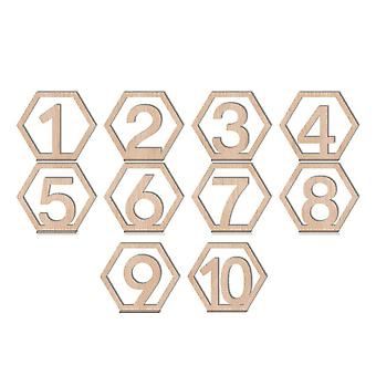 10Pcs  1-10/11-20 number wooden table numbers set with decor wedding base birthday party gifts