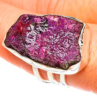 Large Rough Ruby Zoisite Ring Size 8.75 (925 Sterling Silver)  - Handmade Boho Vintage Jewelry RING77304