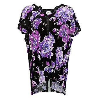 Aria Women's Cap Sleeve Pajama Top with Satin Trim Floral Black 637146
