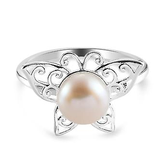 Fresh Water Pearl Butterfly Ring Sterling Silver Animal Lover Gift 2.32ct(M)