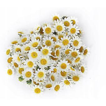 Realistyczna biała sztuczna tkanina stokrotki Główki kwiatowe, stół weselny Scatter Confetti 200szt