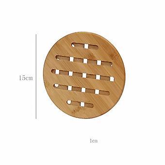 2 Stück dicke Bambus-Isolierpads für den Hausgebrauch für Esstisch (kleine Größe 14.8cm)