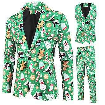 Silktaa Homme Vert Imprimé de Noël Costume à poitrine unique (single West + Gilet + Pantalon)