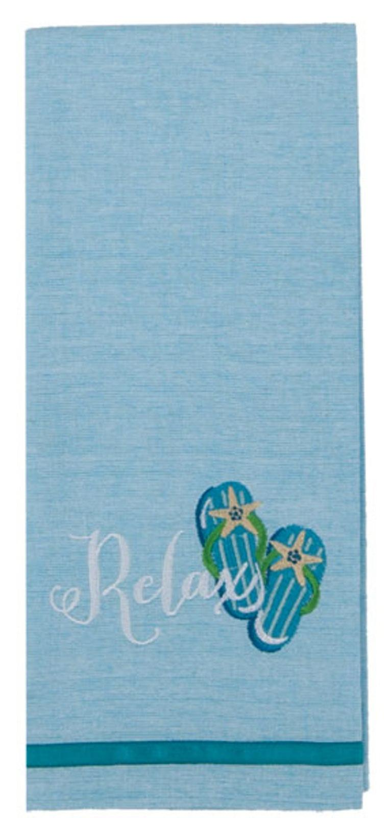 Relax Flip Flops Coastal 28 Inch Embroidered Kitchen Tea Towel Cotton Kay Dee