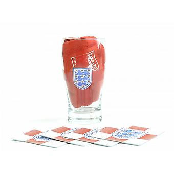 England Official Mini Bar Set (Set Of 1 Pint Glass, 4 Beer Mats & 1 Bar Towel)