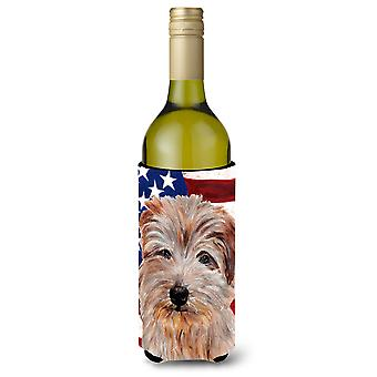 Norfolk Terrier mit amerikanische Flagge USA Wein Flasche Getränk Isolator Hugger