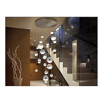 Schuller Contemporary Art-Deco-Chrom Decke Cascade Anhänger kugelförmigen LED Kugeln auf feine Drähte