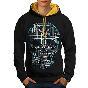 Head Face Panel Skull Men Black (Gold Hood)Contrast Hoodie | Wellcoda