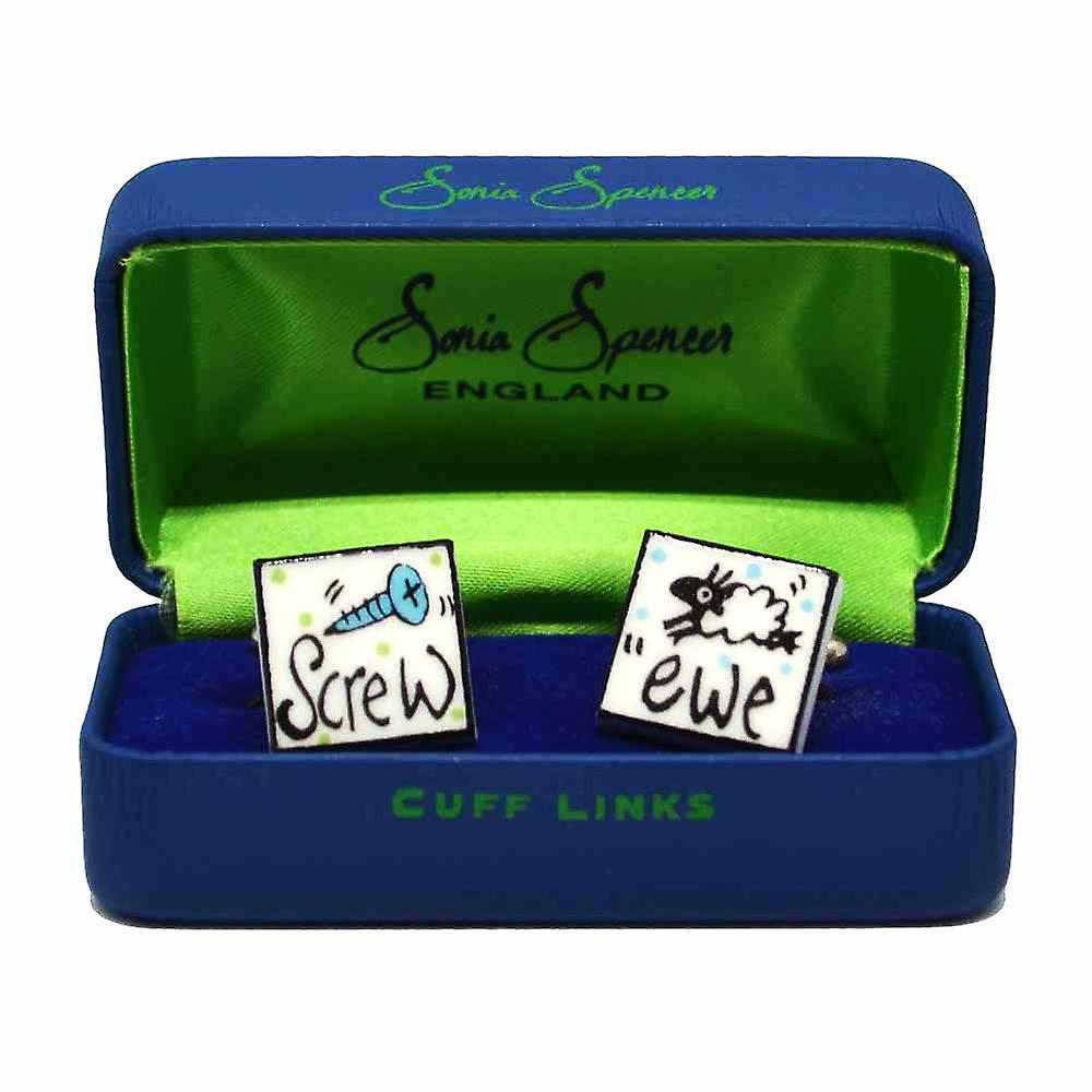 Screw Ewe Cufflinks by Sonia Spencer, in Presentation Gift Box. Hand painted