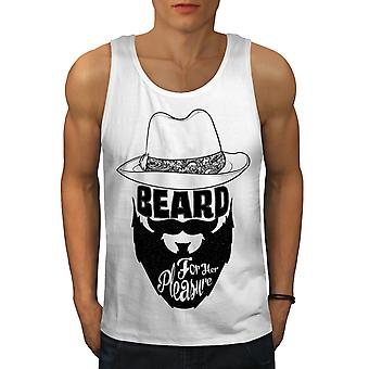 Beard Her Pleasure Men WhiteTank Top | Wellcoda
