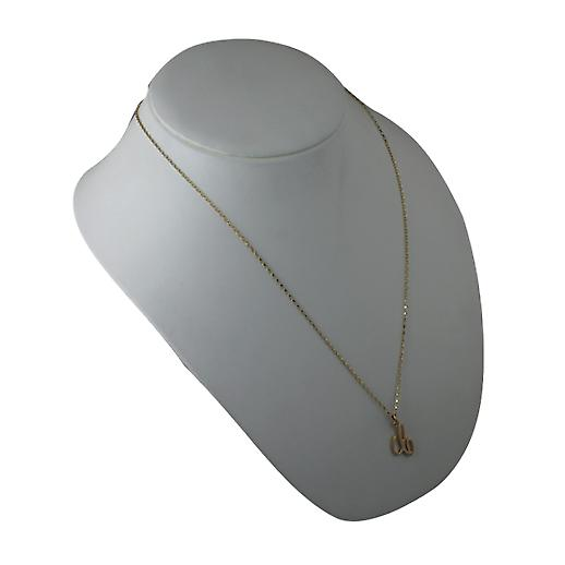 9ct Gold 22x14mm plain Initial C Pendant with a belcher Chain 24 inches