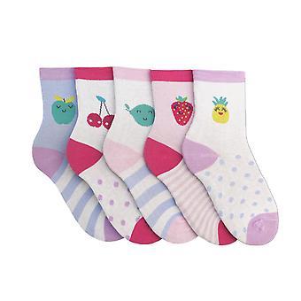 Childrens jenter mønstret frukt Design sokker (pakke med 5)