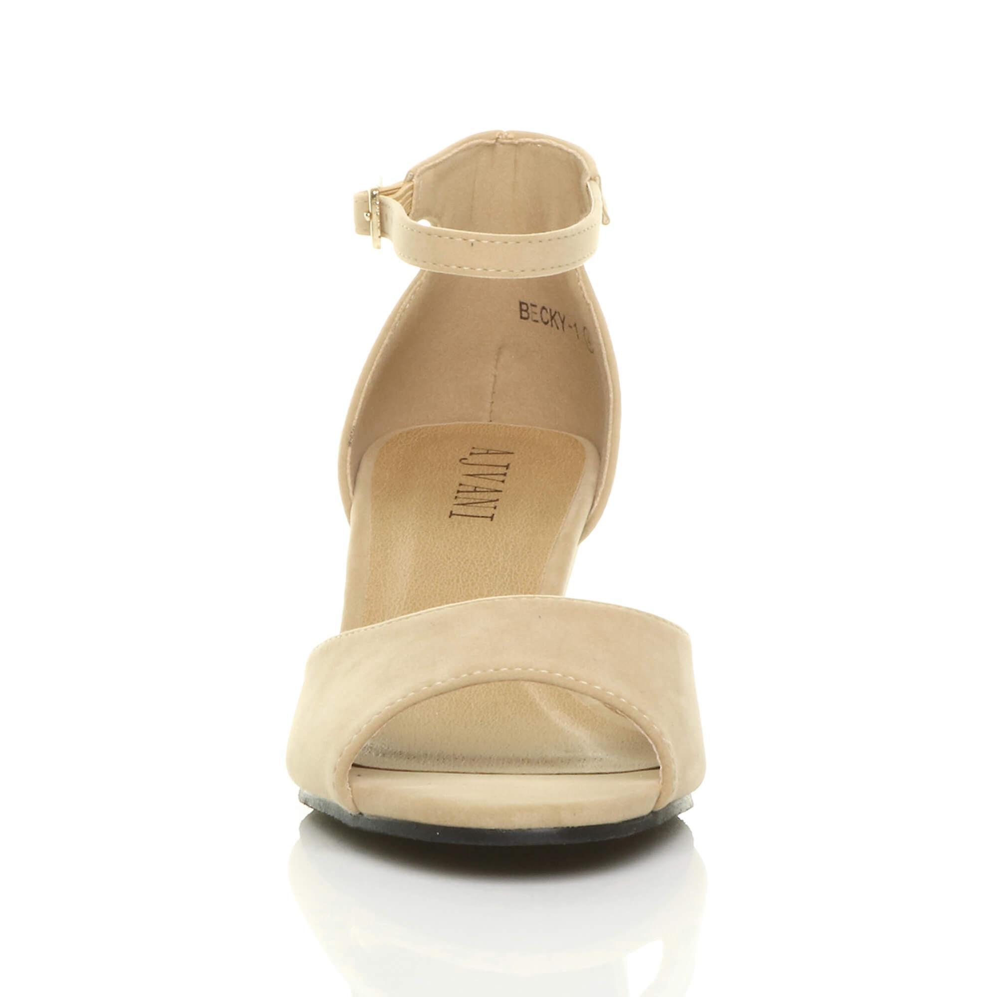 Ajvani womens low mid wedge heel peep toe ankle strap smart casual evening sandals