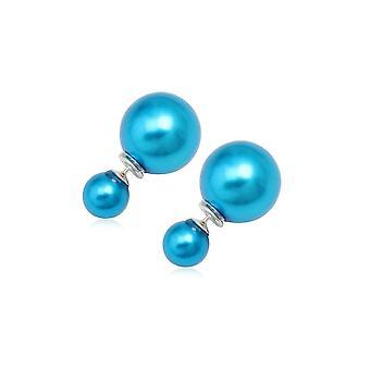 Boucles d'oreilles en Perles Bleu et Argent 925 3452