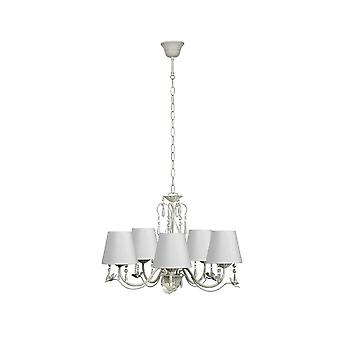 Lucide Antique White 5 Bulb Floral Chandelier With Candle Shades