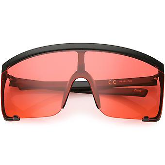 Oversize Semi Rimless Shield Sunglasses Color Tinted Mono Lens 81mm