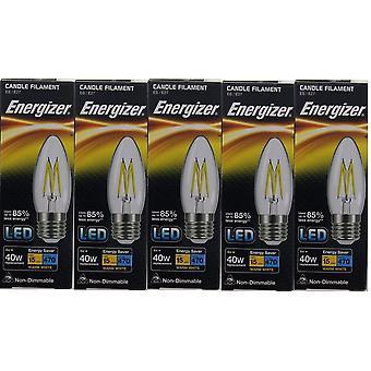 5 X Energizer LED Filament Candle ES E27 4W = 40W 470lm Warm White Screw Cap Bulb  [Energy Class A+]