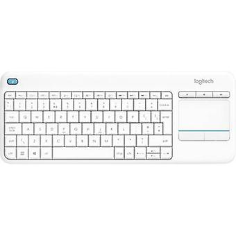Logitech Wireless K400 Plus Radio Keyboard German, QWERTZ, Windows® White Built-in touchpad, Mouse buttons