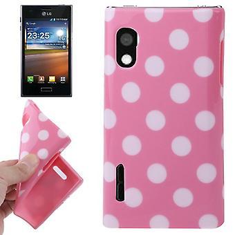 Protection points TPU cas d'affaire pour mobile LG Optimus L5 / E610 rose
