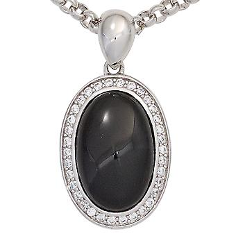 Pendants Onyx pendant 925 sterling silver rhodium plated with cubic zirconia 1 Onyx