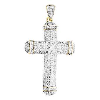 Premium Bling - 925 sterling silver cross pendant-gold