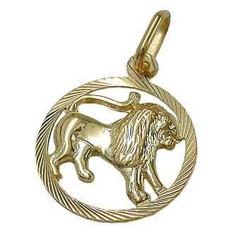Pendant 15mm star sign Leo 9Kt GOLD
