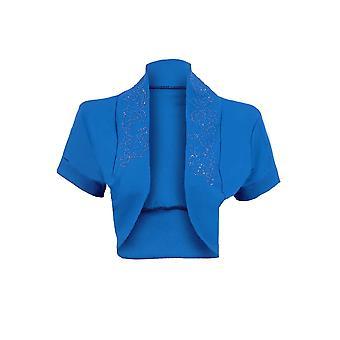 Ladies Plus Sizes Beaded Open Short Sleeve Bolero Cardigan Women's Shrug