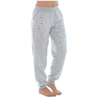 Foxbury Womens Star Pattern Faux Fur Fleece Pyjama Trousers