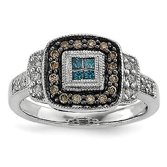 925 Sterling Silver Gift Boxed Cut out sides Rhodium plated Square White Champagne and Blue Diamond Ring Jewelry Gifts f
