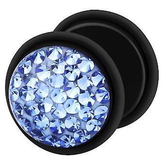 Falso traidor Ear Plug preto, brinco, joias de corpo, com Multi cristal safira azul