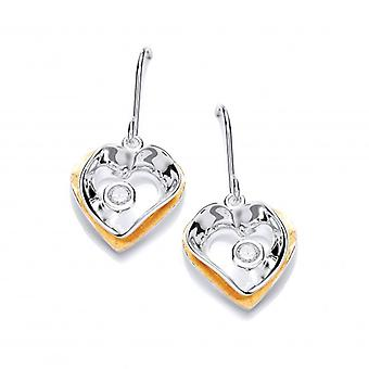 Cavendish French Modern Gold Vermeil and Silver Heart Drop Earrings