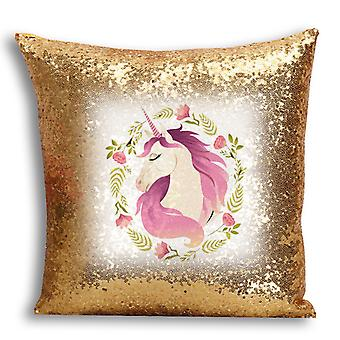 i-Tronixs - Unicorn Printed Design Gold Sequin Cushion / Pillow Cover with Inserted Pillow for Home Decor - 9