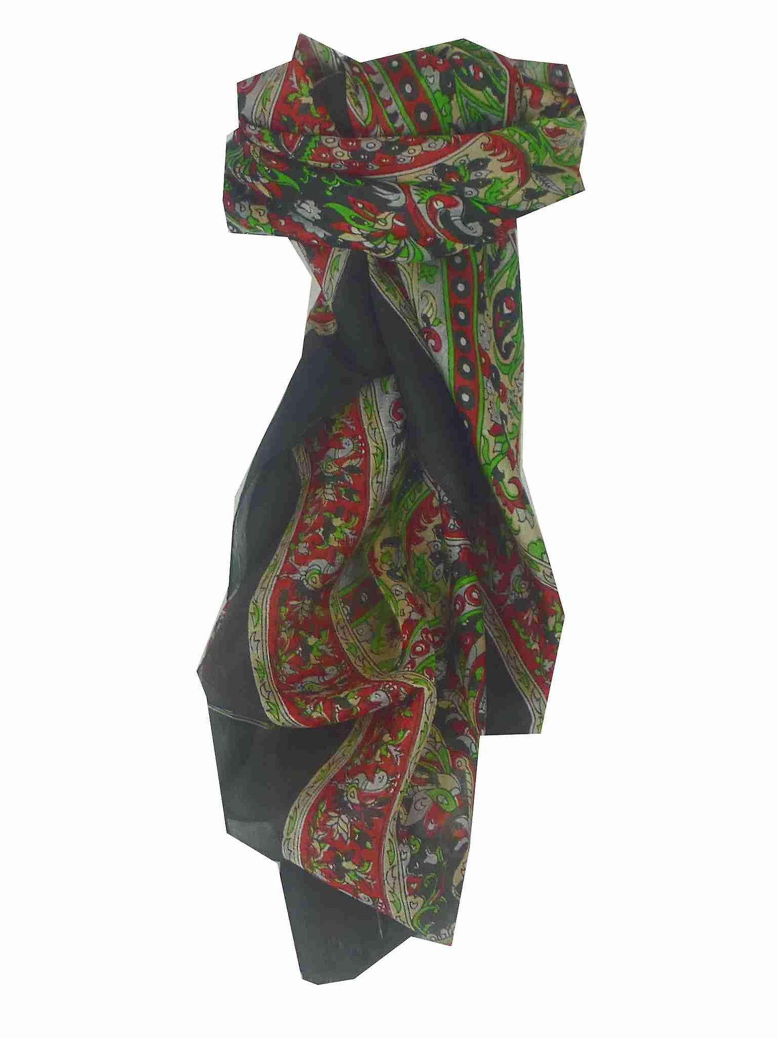 Mulberry Silk Traditional Square Scarf Leh Black by Pashmina & Silk