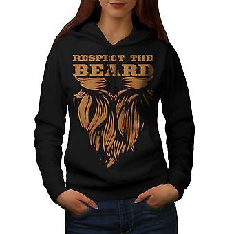 Respect Beard Hippie Women BlackHoodie | Wellcoda